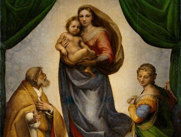 Raffaels Sixtinische Madonna Öl auf Leinwand, 281 x 426 cm; Raffael (Raffaelo Santi) Urbino 1483 - 1520 Rom; © Staatliche Kunstsammlungen Dresden, Gemäldegalerie Alte Meister, Galerie Nr. 93; Foto: Estel/ Klut