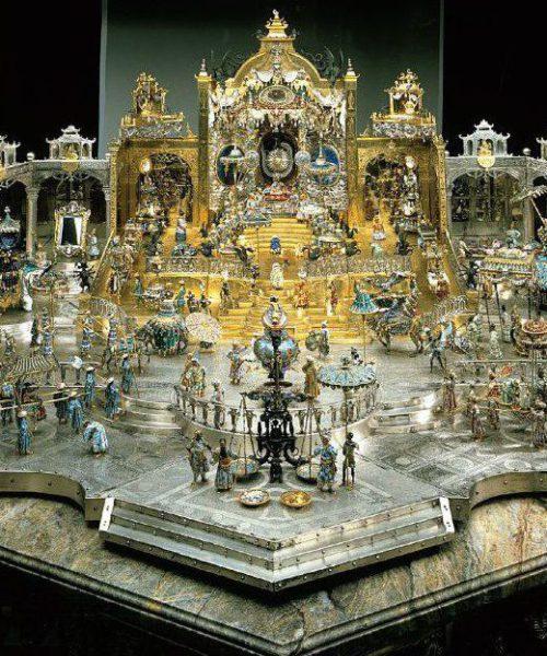 """Kabinettstück """"Der Hofstaat zu Delhi am Geburtstag des Großmoguls Aureng-Zeb"""" - Staatliche Kunstsammlungen Dresden, Grünes Gewölbe"""