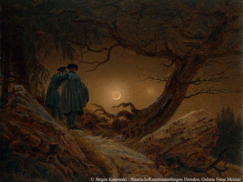 Zwei Männer in Betrachtung des Mondes Galerie Neue Meister Dresden © Jürgen Karpinski, Staatliche Kunstsammlungen Dresden