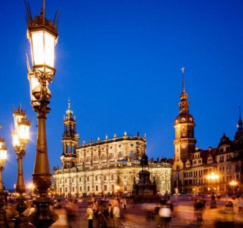 Dresden Theaterplatz Abendstimmung