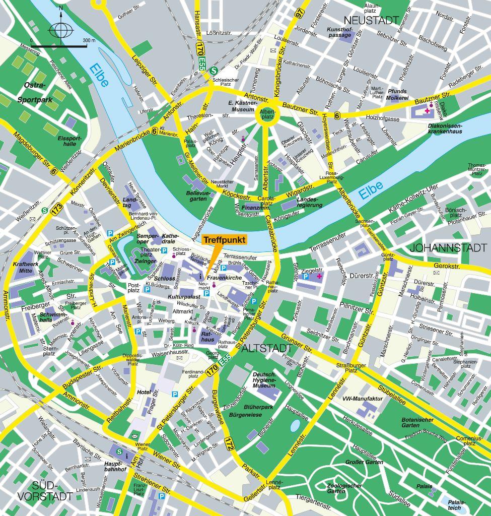 Stadtplan Dresden Altstadt und Umgebug mit eingezeichneten Treffpunkt