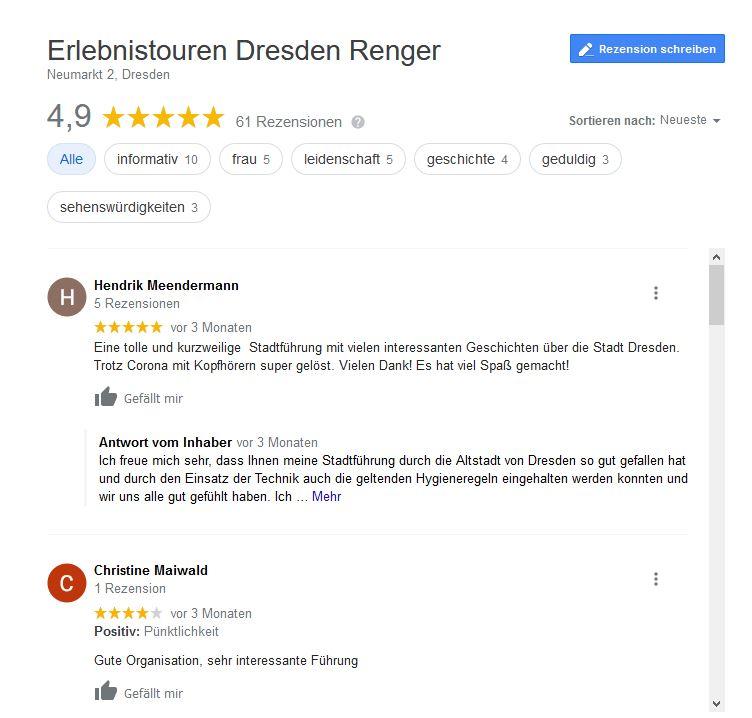 Bwertung von Gästen auf Google